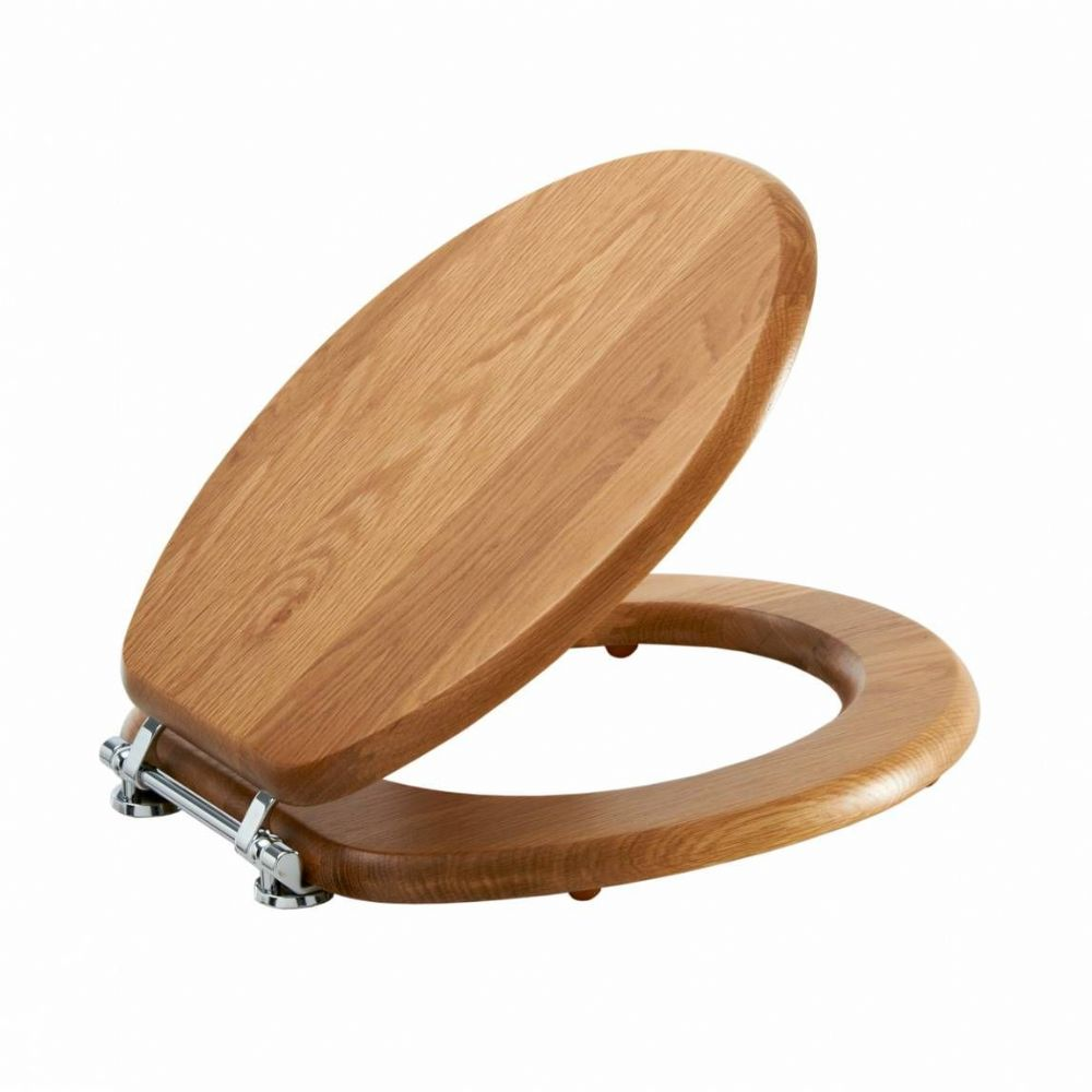 Luxury Lancaster Oak Effect Toilet Seat - Oak toilet seat soft close